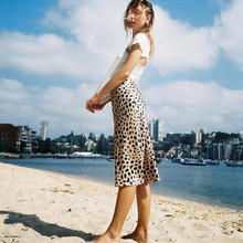 100% Silk Satin Leopard Print Skirt Women Naomi Wild Things Elastic High Waist Side Easy 90s Slip Midi