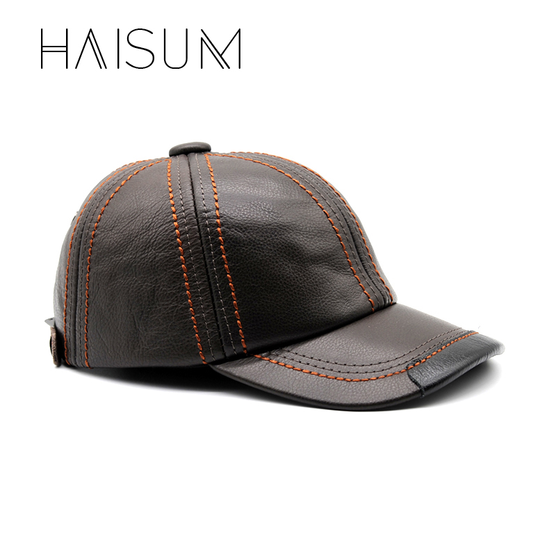 100 Genuine Leather Men Baseball Cap Hat CBD High Quality Men S Real Leather Adult Solid