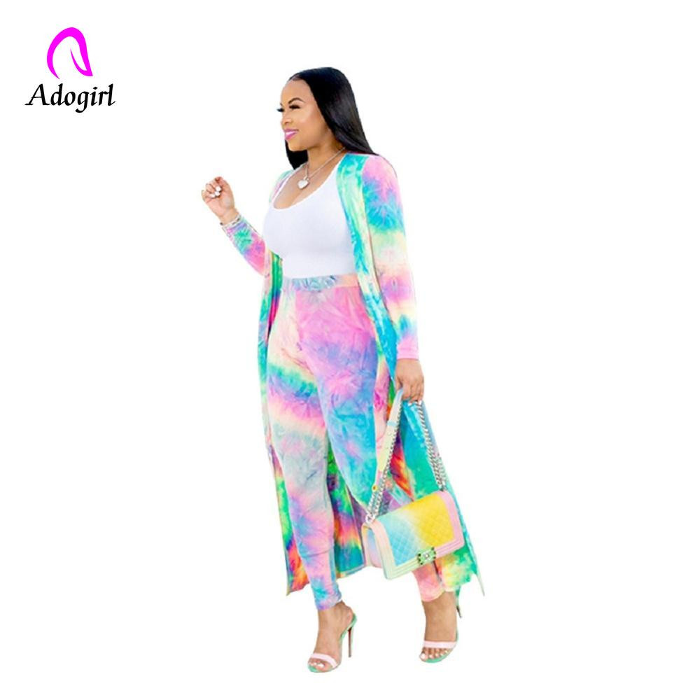 Adogirl Rainbow Tie Dye Sexy 2 Piece Set Tracksuit Summer Clothes Women Long Sleeve Cardigan Tops+Pants Casual Plus Size Outfits