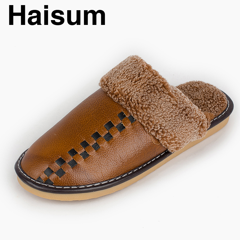 Men 's Slippers Winter genuine Leather Home Indoor Non - Slip Thermal Slippers 2018 New Hot Haisum Tb014 men s slippers winter pu leather home indoor non slip thermal slippers 2018 new hot haisum h 8007
