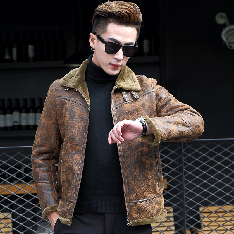 New leather fur men's slim Korean coat, wool coat, leather and motorcycle clothing 17072P1050