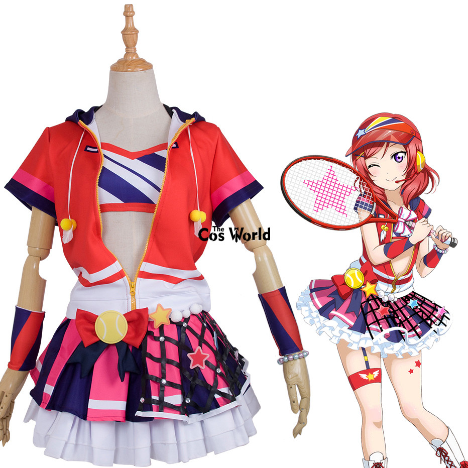 Love Live School Idol Project Nishikino Maki Tennis Boob Tube Tops Hoody Coat Dress Uniform Outfit Anime Cosplay Costumes