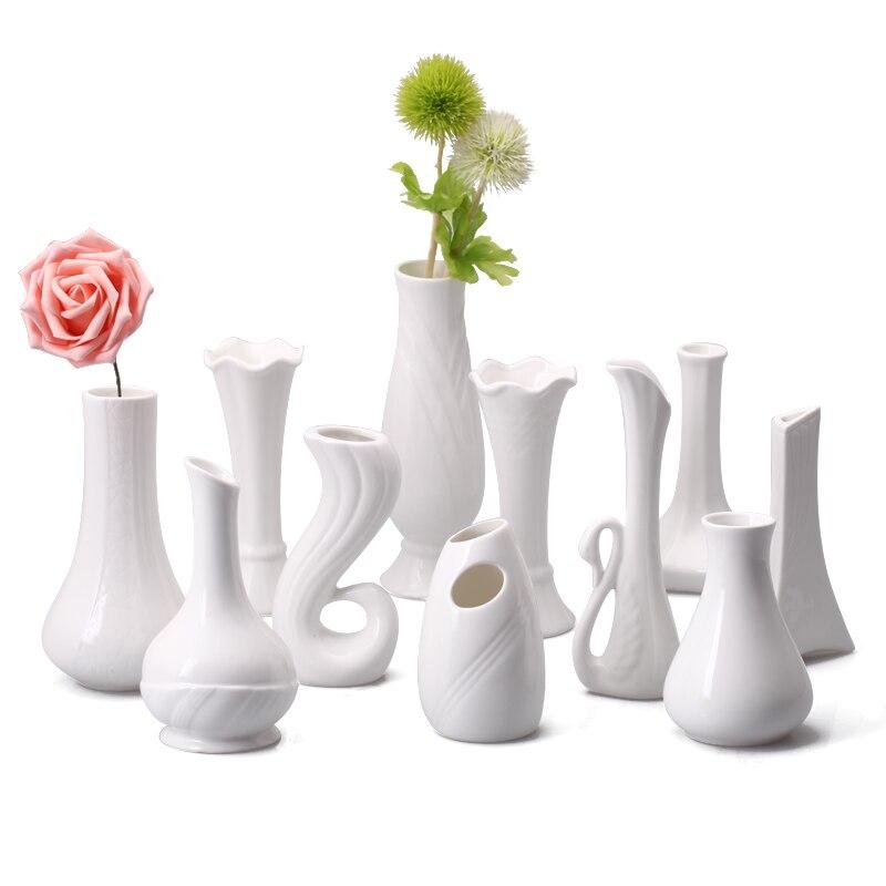 Белый Керамика вазы, украшения воды культура цветок ваза чисто украшения простой Творческий дом аксессуары X $