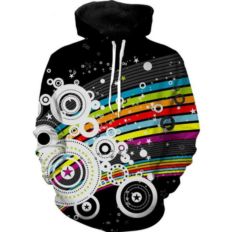 Jumeast Men/Women Retro Color Sweatshirts 3D Print Hooded Sweats Tops Streetwear Unisex Pullover
