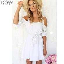 New Hollow Cropped White Flowers Stitching Floral Beach Dress Chiffon Female Boho Sundress For Women Girls Casual Short Dresses