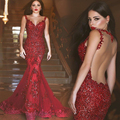 Red Mermaid Dresses Long Evening Dress 2015 New Arrival Formal Dresses Glamorous Backless Appliques Court Train Robe De Soiree