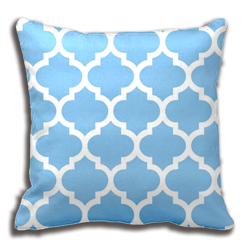 Turquoise Wht Moroccan 5 Hot Pink2 Name Monogram Decorative Pillow