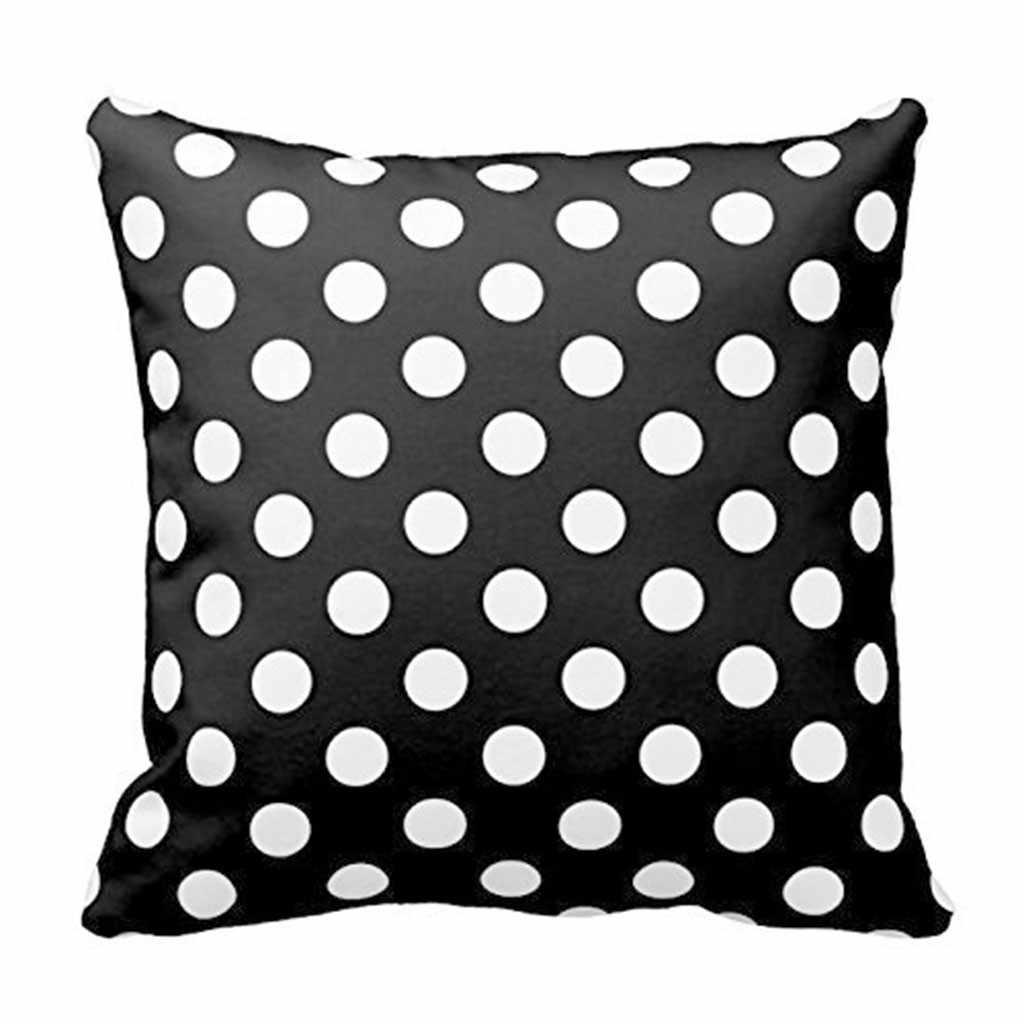 HSU Hot Cushion เป็นมิตรกับสิ่งแวดล้อม Geometric Cushion Cover สีขาวและสีดำ Dot หมอนตกแต่ง 45*45 ซม. ana kucağı