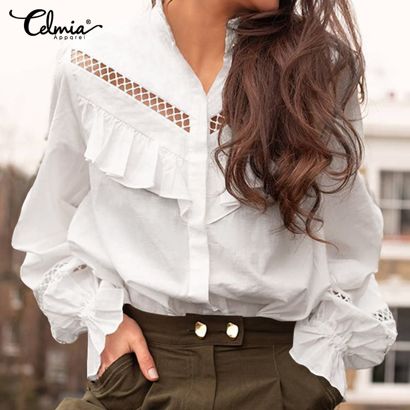 2019 Celmia Fashion Blouse Women's Ruffle Shirts Long Sleeve Sexy Hollow Solid Casual Loose Work Blusas Femininas Plus Size Tops