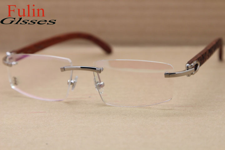 NEW Free shipping Wood Rimless Eyeglasses T8100905 Gold or T8100906 ...
