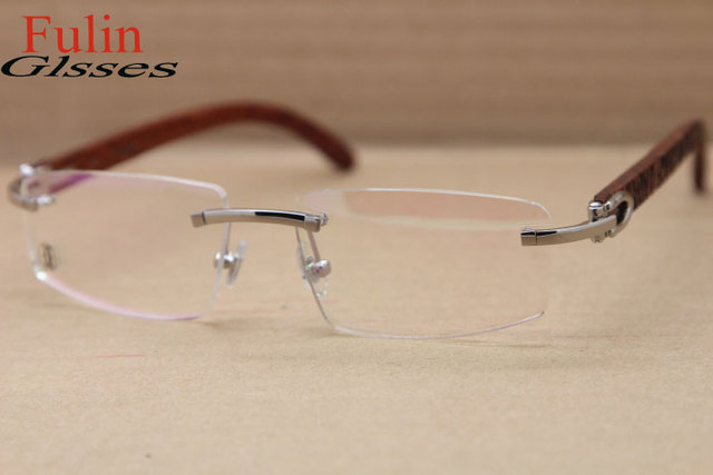 dd757c5043 NEW Free shipping Wood Rimless Eyeglasses T8100905 Gold or T8100906 Silver  Women Glasses Size  54-18-135