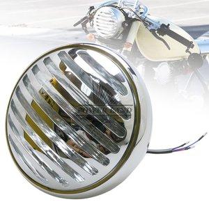 Винтажные мотоциклы металлический Ретро хромированный большой Гриль Крышка ребристый галогенный забор гриль фара 6,5 ''для Harley Bobber Chopper