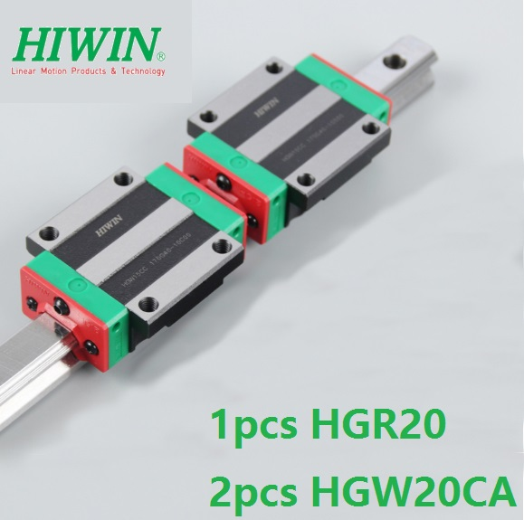 1pcs Original New Hiwin linear rail guide HGR20 500mm/600mm/700mm/800mm/900mm/1000mm + 2pcs HGW20CA Flange blocks for cnc router цены