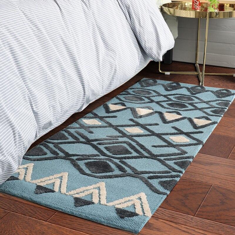 Style nordique fait à la main géométrique chevet tapis 60*150 cm, longue taille tapis pour cuisine, salle de bains tapis vestiaire épaissir tapis de sol