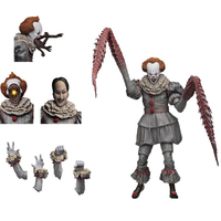 7.2inch With LED Original NECA 4 Heads Stephen King's It Ultimate Pennywise Action Figure Toy Halloween Gift