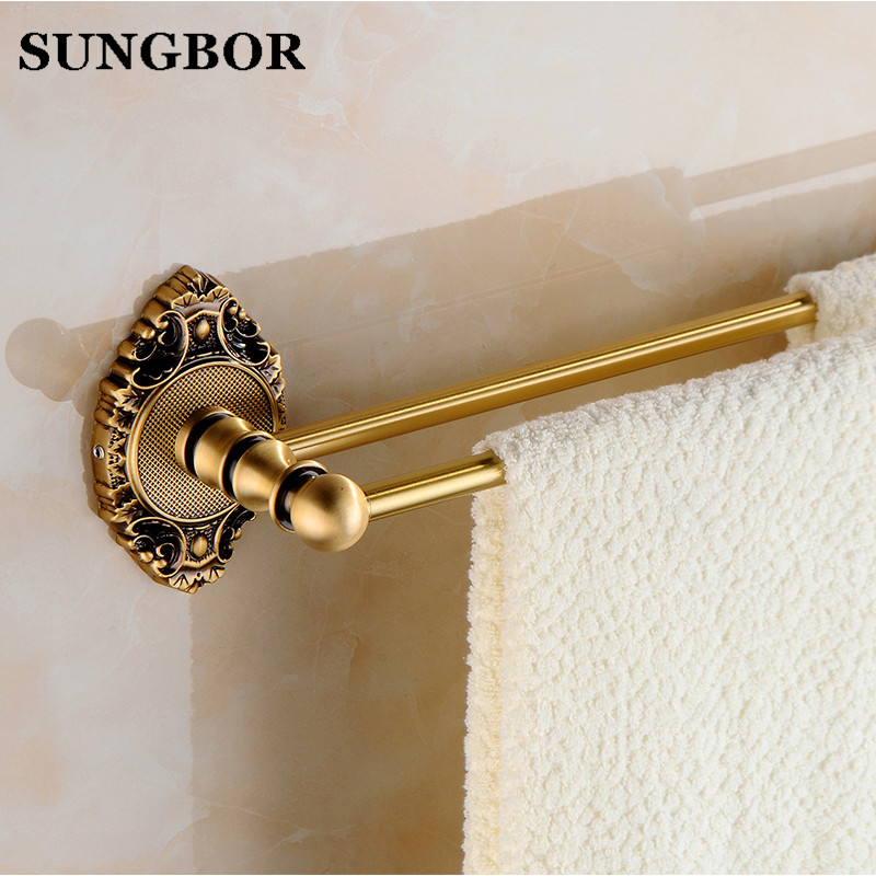 Antique carved brass bathroom double towel bar bathroom towel rack holder bathroom antique hardware accessories SH-9611F nail free foldable antique brass bath towel rack active bathroom towel holder double towel shelf with hooks bathroom accessories
