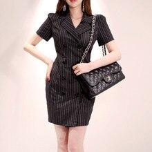 Women Button Blazer Dresses Elegant Lady Office Slim Striped