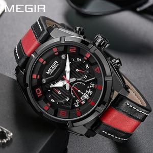 Image 5 - MEGIR Chronograph Sport Watch Men Quartz Wristwatches Clock Fashion Leather Army Military Watches Hour Time Relogio Masculino