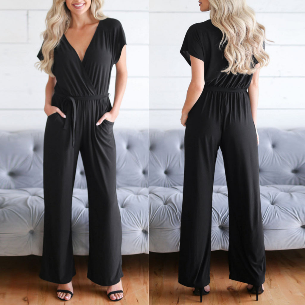 Women Casual Jumpsuit Women Fashion Solid Short Sleeve V-Neck Long Jumpsuits Rompers Playsuit Overalls for Women