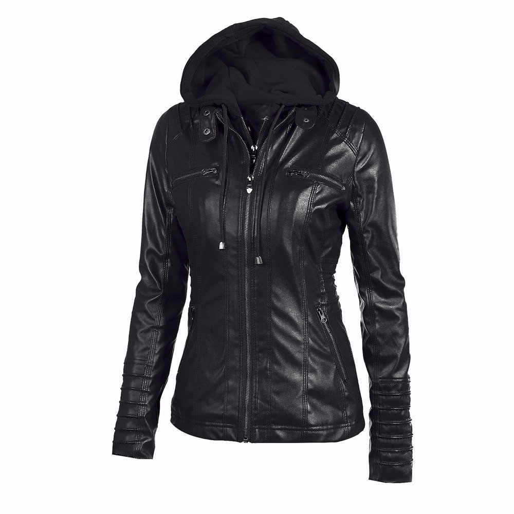 Telotuny European and American style Slim Hooded female coat overcoat autumn jacket women leather female jacket JL 25