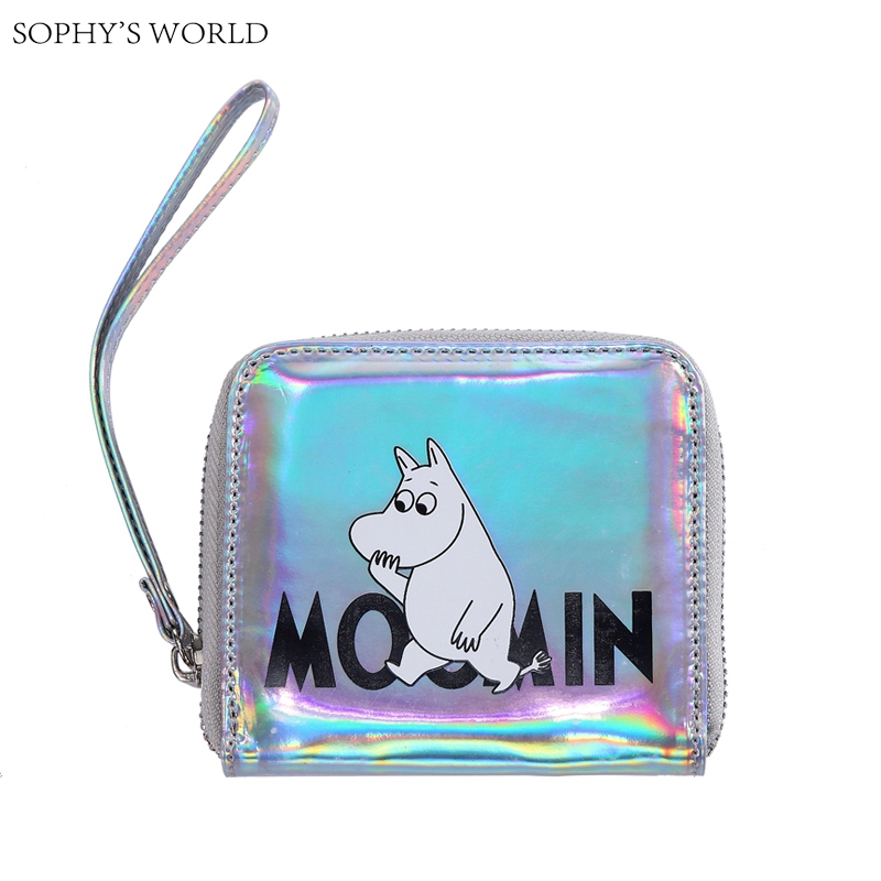 Hologram Women Wallets Square Zipper Money Purse Small Wristlets Belt Clutch Bag Cartoon Coin Purse Female Bank Card Holder holographic belt purse