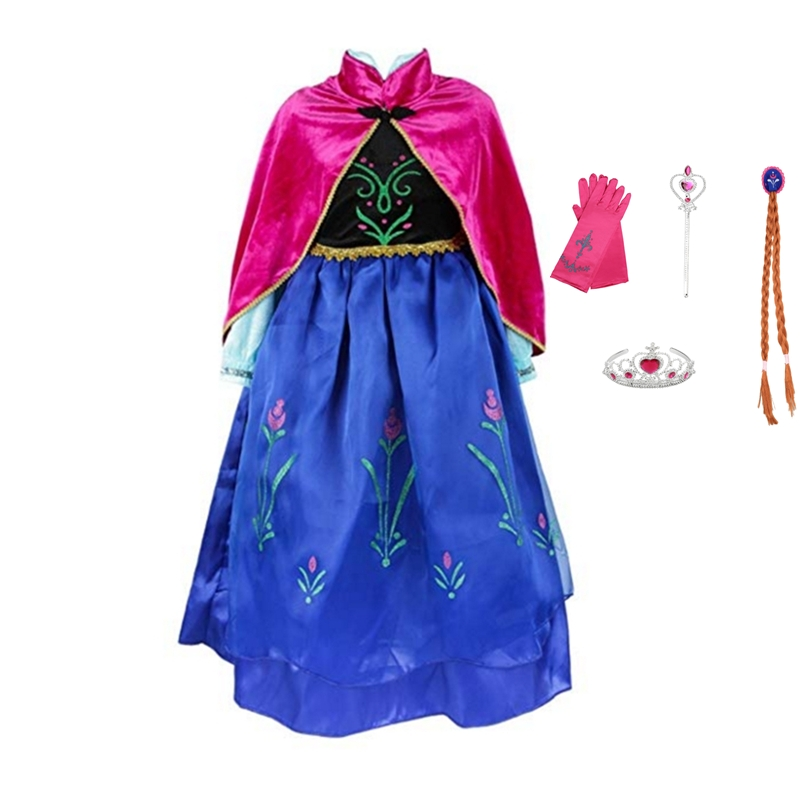 FINDPITAYA Girls Anna Elsa Dress with Cape Children Princess Party Cosplay Costume Children Halloween Fantasy Dress up 2-9 Years
