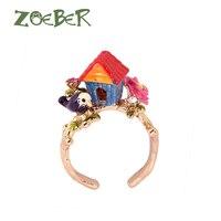Zoeber New Design Cute Flower Bird House Ring For Women 3D Enamel Glaze Finger Animal Rings