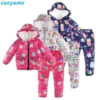 Winter Kids Boys Girls Down Parkas Clothing 2pcs Sets Hooded Graffiti Baby Down Jacket Pants 30