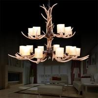 European Style Antique Antler Chandelier 15pcs Lights Hotel Bar Lighting Living Room Suspension Light