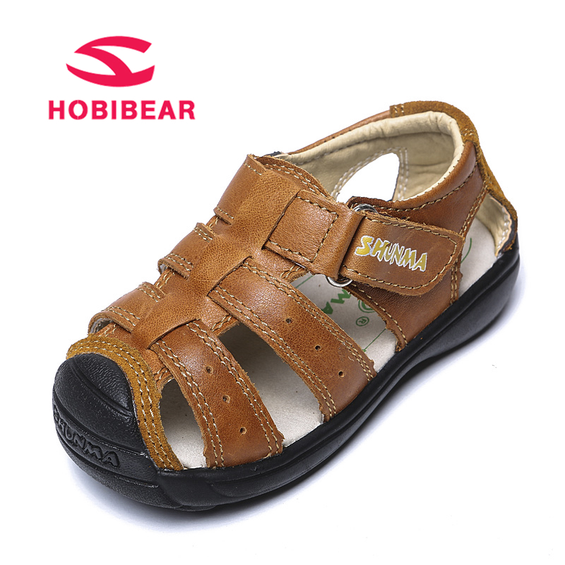 HOBIBEAR Toddler Boys Sandals Summer Children Sandals Genuine Leather Beach Kids Shoes Cut-out Closed-Toe Baby sandalia infantil