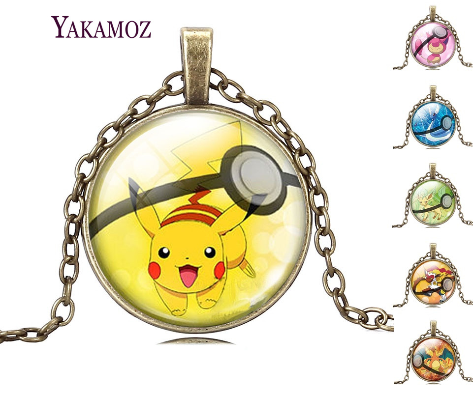 Vintage Bronze Chain Mens Necklaces Jewelry Pikachu Pokemon Pokeball Cabochon Glass Statement Necklaces Pokemon Jewelry 2017