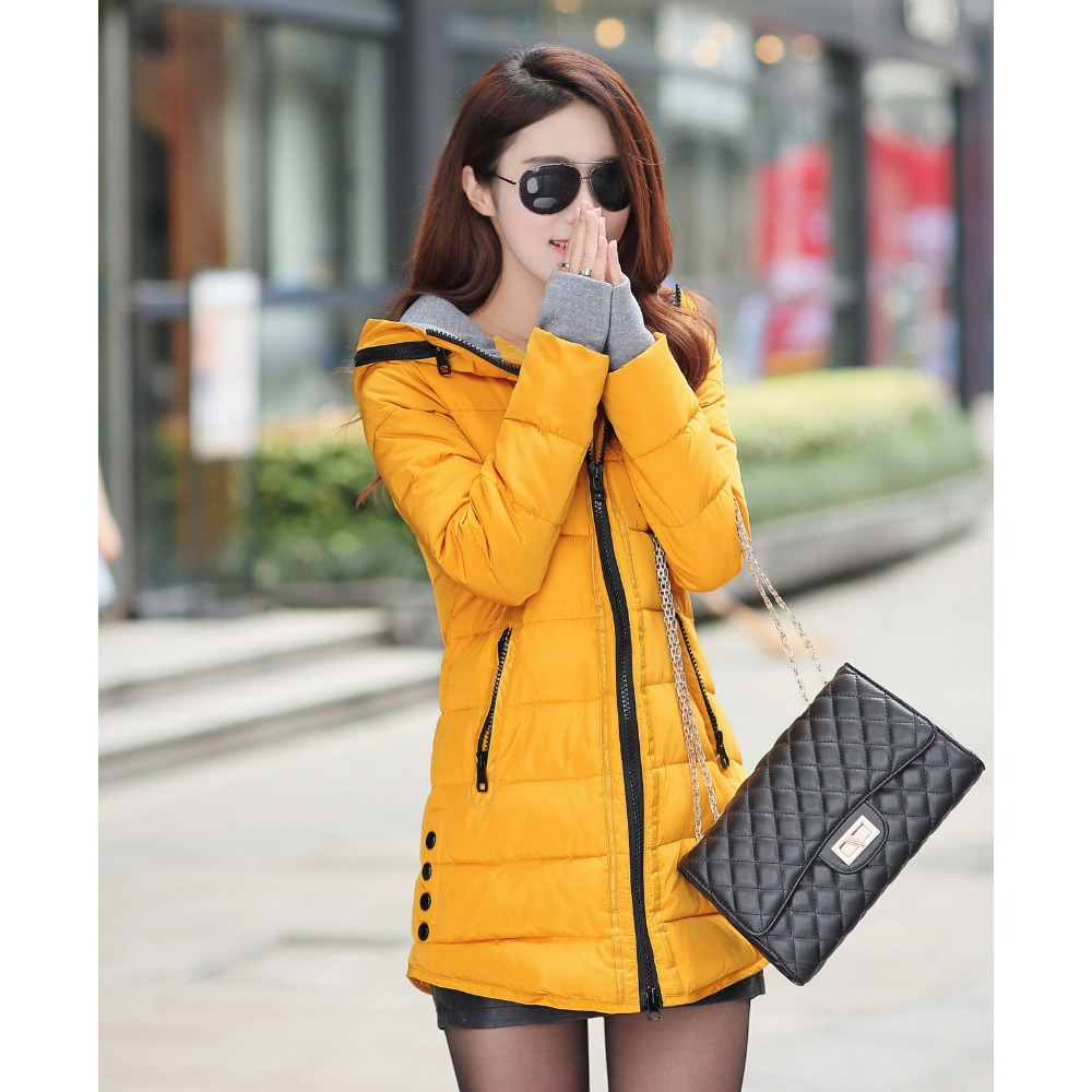 Women s version of the new winter long paragraph women s cotton thickening fashion Hooded down