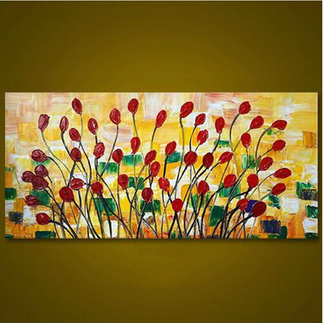 Modern Abstract Knife Red Floral Paintings Handmade Home Decoration ...