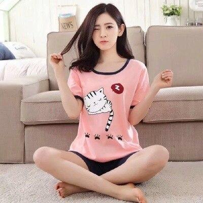 2019 Trend Ladies Short-sleeved Shorts Pajamas Suit Summer Milk Silk Cartoon Home Service Refreshing Thin Pajamas Two-piece