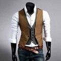 Повседневная Мужчины Костюм Жилет 2017 Горячий Slim Fit Мода Дизайнерский Бренд Формальный Платье Жилет мужская одежда
