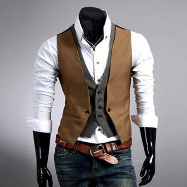 Casual Men Suit Vest 2017 Hot Slim Fit Fashion Designer Brand Formal Business Dress Waistcoat men's clothing