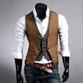 Hombres Traje de Chaleco ocasional 2017 Caliente Slim Fit Diseñador de Moda de la Marca de Vestir de Negocios Formales Chaleco ropa de hombre