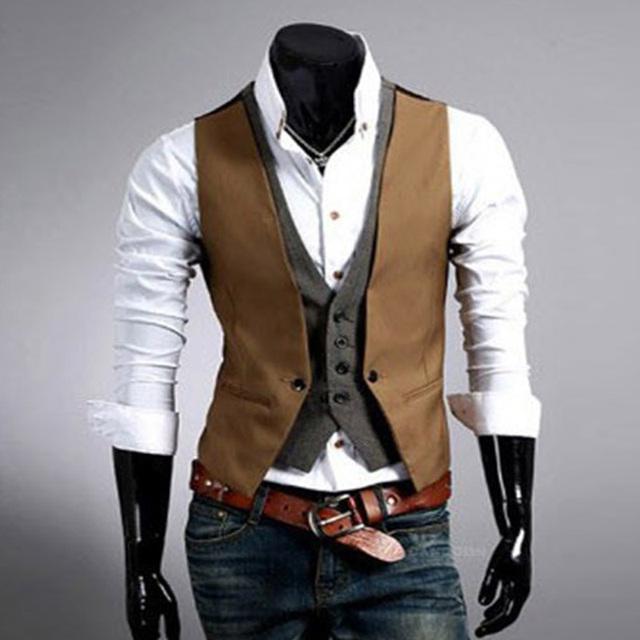 Homens casuais Terno Colete 2017 Hot Slim Fit Designer de Moda Marca Formal do Negócio Vestido de Colete roupas masculinas