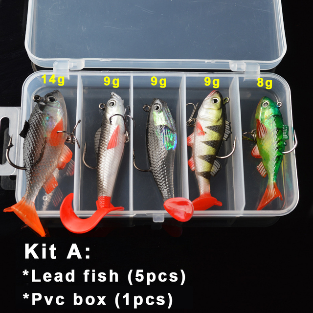 TOMA Soft Lure Kit set 18g 14g 13g 9g 8g Wobblers Artificial Bait Silicone Fishing Lures Sea Bass Carp Fishing Lead Fish Jig 1