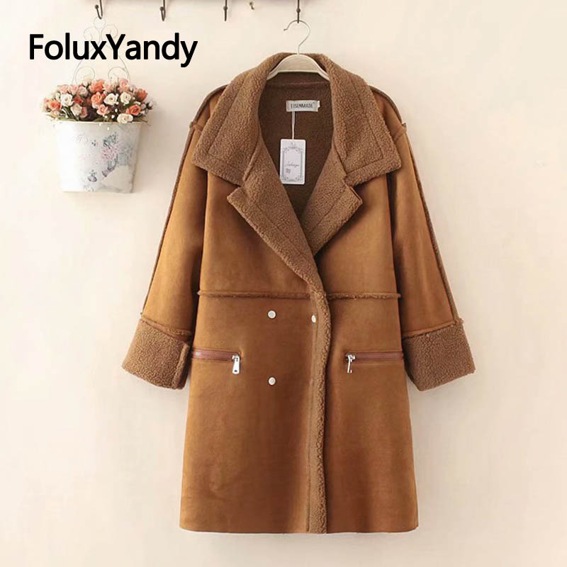 Warm Winter   Trench   Women Turn-down Collar Loose Long Coat Plus Size Casual Thick Double Breasted   Trench   Outerwear KKFY2817