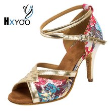 HXYOO 2017 Instock Latin Dance Shoes Women Salsa Ballroom Shoes Ladies Satin Soft Sole Red Blue Flower Gold Buckle WK010