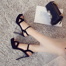 YMECHIC 2018 Summer Office Lady Sexy Thin High Heels Cross Strap Peep Toe  Platform Ladys Shoes 6c4140f19cf7
