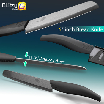 Ceramic Knife 3 4 5 inch + 6 inch Kitchen Knives Serrated Bread Set +Peeler Zirconia Black Blade Fruit Chef Knife Vege Cook Tool 2