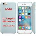 11 color 1:1 original funda de silicona para iphone 6 s y para iphone 6 s plus, de calidad superior con la caja al por menor y LOGO Al Por Mayor