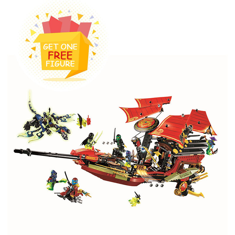 Bela Pogo Compatible Legoe 1265pcs Final Flight Destiny Bounty Ninjagoe Thund Swordsman Building Blocks Bricks toys for children lepin 75821 pogo bela 10505 birds piggy cars escape models building blocks bricks compatible legoe toys