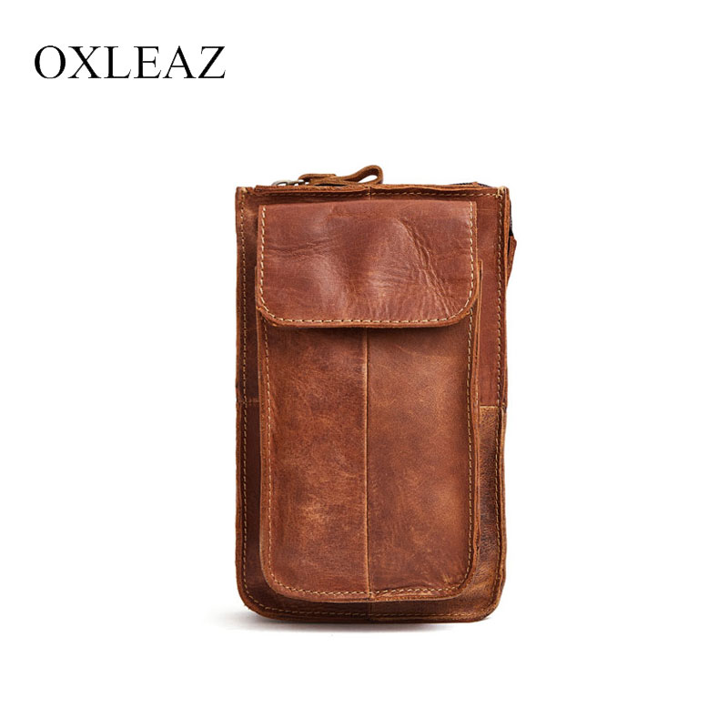 OXLEAZ Male Mini Waist Pack Vintage Crazy Horse Leather Purse Belt Bag Women Casual Travel Waist Pouch Phone Money Bag for Men cuwhf vintage men s leather purse waist bag black adjusted belt bag man casual waist pack pouch brief design fashion waist bag