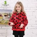KAMIWA 2016 Девушки Зимние Пальто Куртки Горошек Хлопок Проложенный Утолщаются Парки Подросток Марка Вниз Детская Одежда Детская Одежда