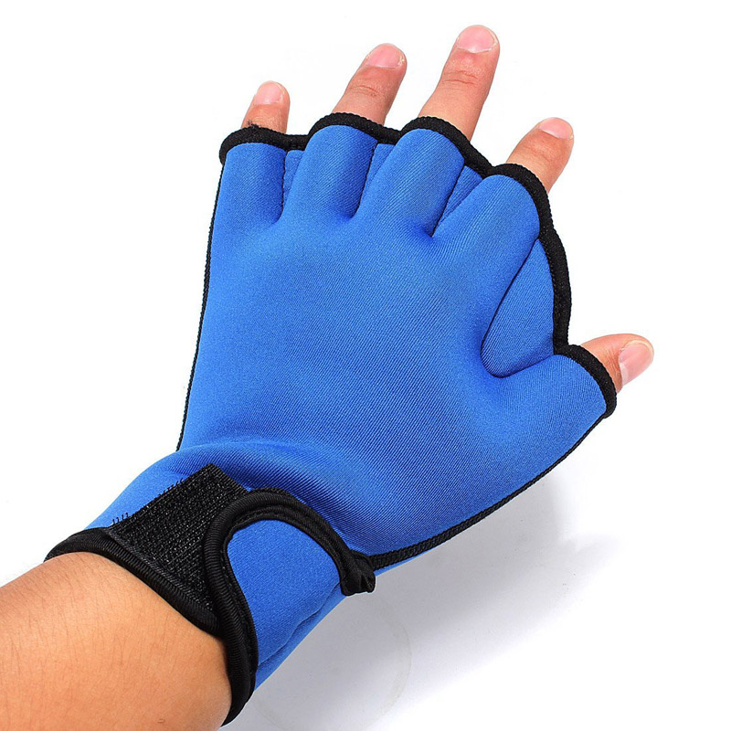 Hot Sale Durable Adults Adjustable Frog Webbed Surfing AID Half Finger Fingerless Gloves Swimming Diving Training Equipment