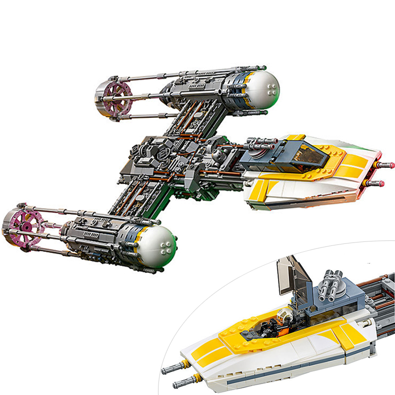 2018 New Lepin 05143 2203Pcs Star Wars Figures UCS Y-Wing Fighter Building Blocks Bricks Set Model Children Toy Compatible 75181 new lepin 16009 1151pcs queen anne s revenge pirates of the caribbean building blocks set compatible legoed with 4195 children