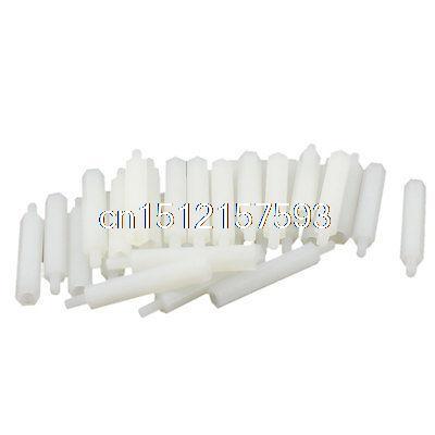 30Pcs M3 30mm+6mm Female-Male White Nylon Hex PCB Stand-Off Pillar Screw Spacer 50 pcs m3 7mm 6mm male female thread nylon pcb hex stand off screw spacer